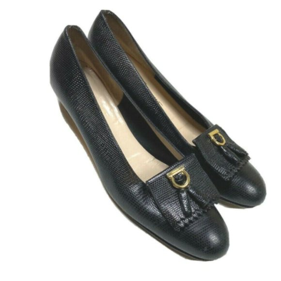 Salvatore Ferragamo 9.5 Narrow Black Lizard Heels